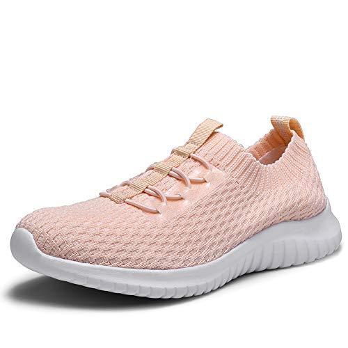 TIOSEBON Women's Ultralight Casual Fashion Walking Shoes Breathable Flyknit Running Slip-On Sneakers 12 US Pink