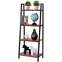 Costway 4-Tier Ladder Book Organizer Bookcase Storage Display Book Shelf Rack