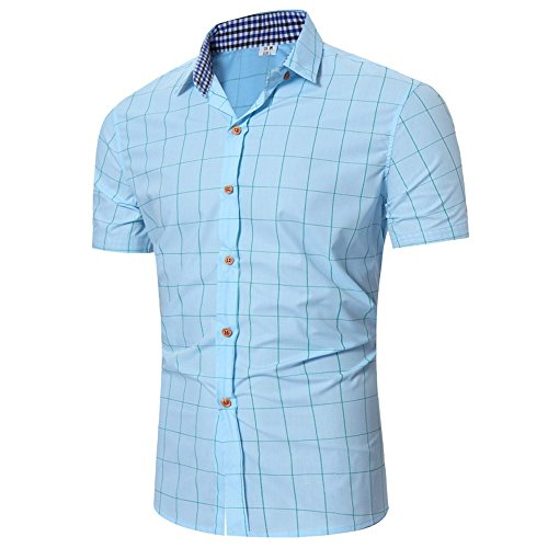 Benficial Mens Casual Slim Fit Button-Down Dress Shirts Short Sleeves Solid Colors Plaid Shirt Light Blue
