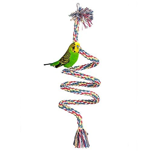 baleba Colorful spirale coton corde Bird Perch mâcher jouet pour perroquet perruches calopsittes perruches Inséparables Finch Toys Cage Swing avec cloches