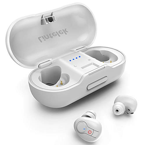 Lintelek Wireless Earbuds, Deep Bass True Wireless Stereo Earphones, Instant Pairing Noise Canceling Headsets with Built-in Mic, 20H Music Time with Portable Charging Case Wireless Headphones (White)