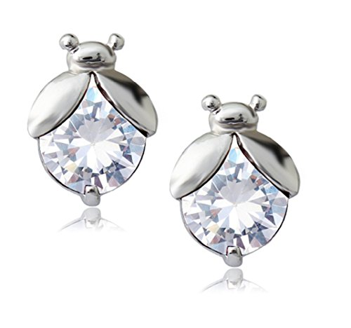 (Ladybugs Stud Earrings with White Zirconia Crystals 18 ct Gold Plated for Women and)