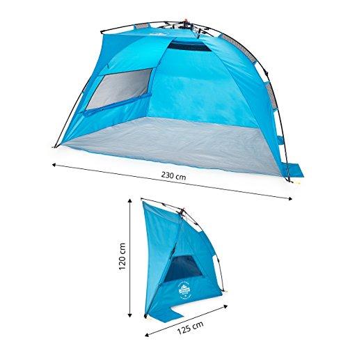 Lumaland Outdoor Pop Up Strandmuschel Blau Strandzelt inkl. Heringe und Tragetasche verschiedene Größen 230 x 125 x 120 cm