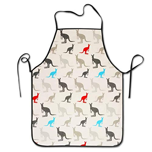Women's Apron, Water and Oil Proof, Washable Australia Kangaroos Bib Aprons with Fixed Neck Strap and 21 Inches Side Ties, 100% Durable Twill Polyester for Cooking Baking BBQ -