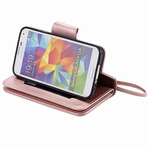 Yiizy Samsung Galaxy S5 G900 Funda, Chica Repujado Diseño Solapa Flip Billetera Carcasa Tapa Estuches Premium PU Cuero Cover Cáscara Bumper Protector Slim Piel Shell Case Stand Ranura para Tarjetas Es