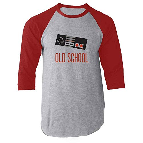 Old School Video Game Controller Red M Raglan Baseball Tee Shirt