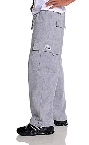 Pro Club Men's Heavyweight Fleece Cargo Pants, X-Large, Heather Gray