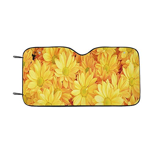 Yellow Flower Durable Car Sunshade,Lively Daisies Fresh Bouquets with Natural Seasonal Bedding Plant Petals for car,55