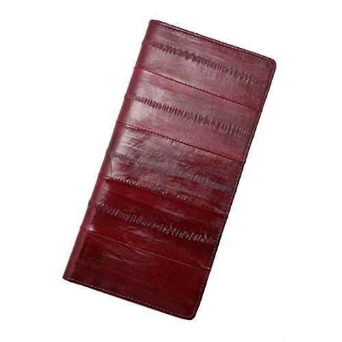 Vidlea Genuine Eel Skin Wallet Basic Long Slim Fold Wallet Credit Card Holder Coin Purse (Burgundy)