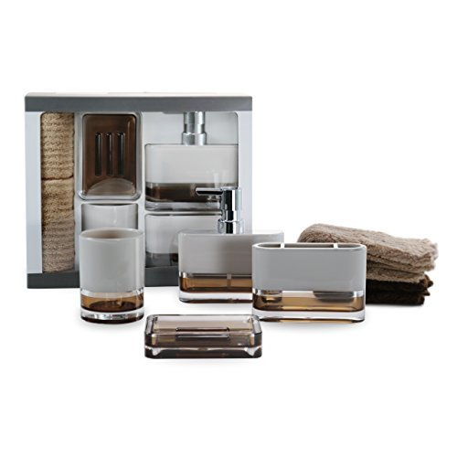 IMMANUEL 6-Piece MS Acrylic Two-Tone Brown White Bathroom Accessories Gift Set with Box, Toiletries Organizer, Modern Home Decoration, Tumbler, Soap Dispenser, Toothbrush Holder, Soap Dish Included