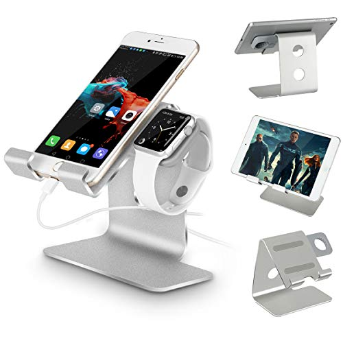 Apple Watch Stand-Tranesca 2-in-1 charging stand for 38mm and 42mm Apple watch/iPhone/iPad (Silver-Must have Apple watch Accessories) by Tranesca
