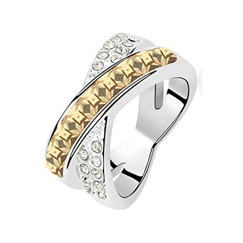 Gnzoe Womens Stainless Steel Letter X Crystal Gold Annniversary Wedding Bands Size 7 (Fashioned Double Old Gem)