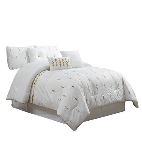 7 Piece Bedding set, White, Gold Embroidered Comforter having Accent pillows Bed in a Bag-Niamh (CalKing) Black Friday & Cyber Monday 2018