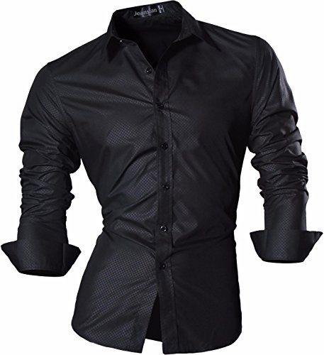 jeansian Men's Button-Down Slim Fit Long Sleeves Dress Shirts Tops Z029