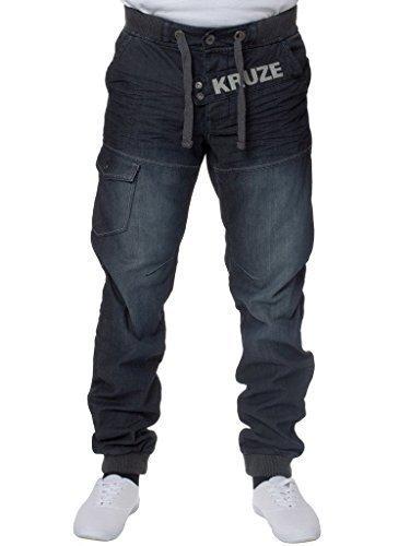 KRUZE Herren Stonewashed Markiert Mit manschetten Denim Jeans Hose Elastischer Bund 28-48 - Herren, Dunkel Steinwäsche, 42W x 32L