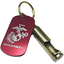 Bullets2Bandages - Ultra Portable Real 7.62mm Bullet Bottle Opener Keychain with United States Marine Corps (USMC) Logo Dog Tag/Keytag (Great Gift for a Marine).