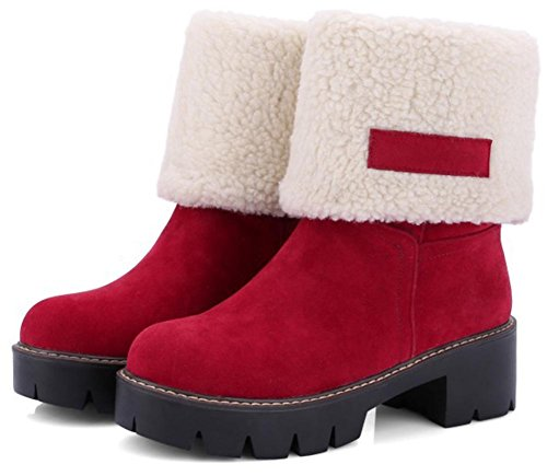 Easemax Women's Warm Faux Suede Round Toe Pull On Chunky Mid Heels Ankle High Booties With Platform Red j2lbhM