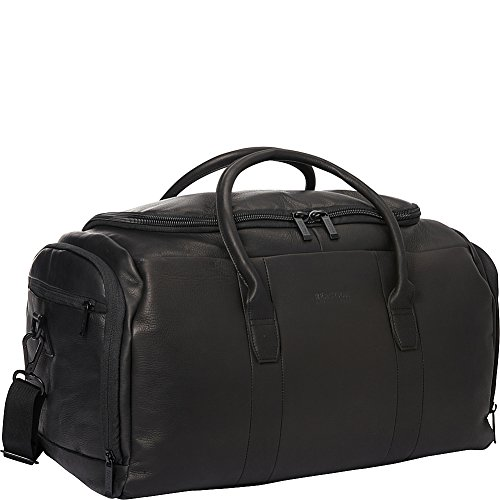 Kenneth Cole Reaction Colombian Leather U-Shape Zipper Top Load Duffel Bag, 20'', Black by Kenneth Cole REACTION