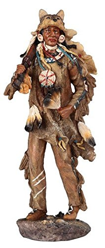 StealStreet Native Indian Chief with Feathered Animal Headdress Painted Figurine (Feathered Headdress)
