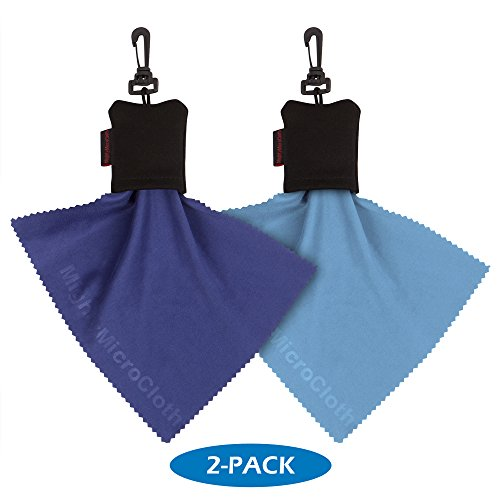 """MightyMicroCloth Microfiber Eyeglass Cleaning Cloth (2-Pack) in Black Pouch with Clip – Lens Cleaner for Eyeglasses, Lenses, Screens, Cameras & Electronics - 6"""" x 7"""" Blue Cloths ()"""