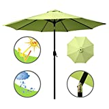 Cheap ABBLE Outdoor Patio Umbrella 9 Ft with Tilt and Crank, Weather Resistant, UV Protective Umbrella, Durable, 8 Sturdy Steel Ribs, Market Outdoor Table Umbrella, Lime Green