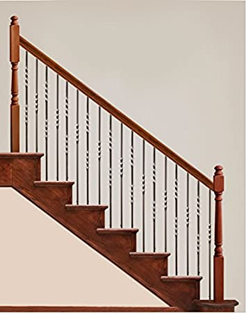 Box of 5 Satin Black 16.1.21 Long Twist Iron Baluster for Staircase Remodel