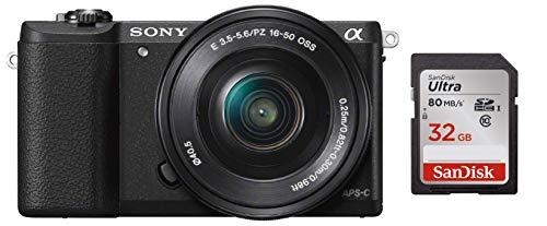 Sony Alpha ILCE5100L 24.3MP Digital SLR Camera (Black) with 16-50mm Lens, Bag & Sandisk 32 GB Memory Card 1