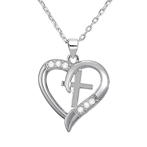 Silver Christian Cross Heart Pendant I Love Jesus Necklace ,Jewelry with a Luxury Gift Bag for Easy Gift Giving Womans Necklace Birthdays Gifts For Women Gifts For Girls .925 Sterling Silver (Cross Jewelry Christian Necklace)