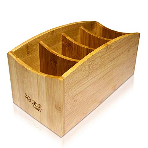 Natural Bamboo Organizer | Kitchen Counter Utensil Storage | Home Office Stationery Desk Caddy | Living Room Table Accessory Remote Holder by Splash ()