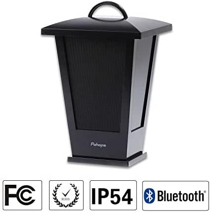Bluetooth Speaker Waterproof ,Portable Outdoor Wireless Speaker with LED Strip Lights around,Support 2 or More Speakers 5.8Ghz Pairing Sync Shared Audio,Lantern Design Black Pohopa