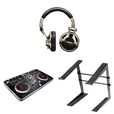 DJ Bundle with Numark Mixtrack Pro II, Shure SRH750DJ Headphones and Laptop Stand
