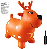 AppleRound Orange Reindeer Bouncer with Hand Pump, Inflatable Space Hopper, Ride-on Bouncy Animal