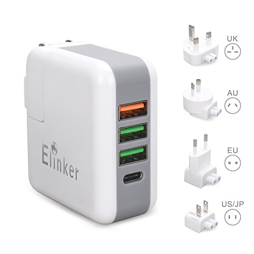 Universal Travel Adapter,Elinker USB Charger Plug Wall Charger Voltage Converter with UK EU US AU International Plug Quick Charge Tech Type C for Smartphone,Tablets by Elinker