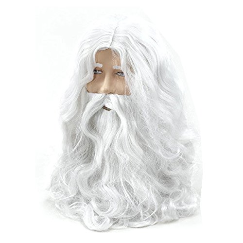 Isguin Deluxe White Santa Fancy Dress Costume Wizard Wig and Beard Set Christmas Halloween -