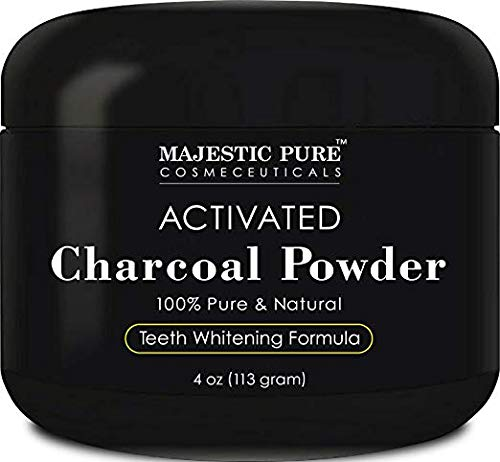 Pur Polish - Activated Charcoal Teeth Whitening Powder by Majestic Pure - Natural Teeth Whitener with Coconut Charcoal, Non Abrasive, 4 oz
