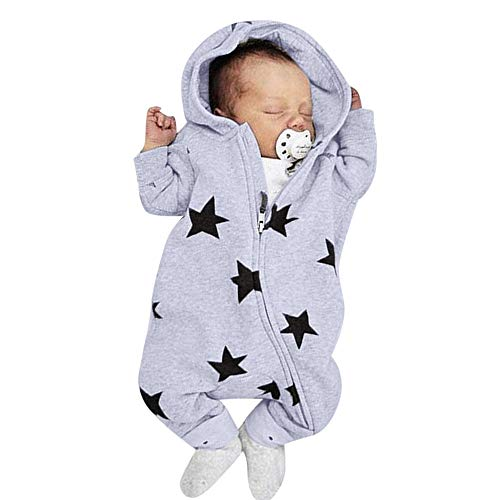 0-2 Years Old, New Fashion Newborn Infant Baby Girls Boys Stars Print Hooded Zipper Romper Jumpsuit Outfits (Gray, 6-12 Months)