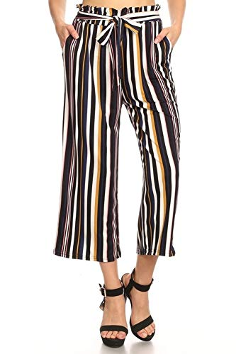 ShoSho Womens Paper Bag Waist Cropped Pants Casual Wide Leg with Pockets Striped Print Navy/Mustard Medium