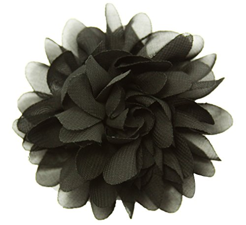 "Wholesale Princess 3.5""Chiffon Fabric Flower Hair Clip Black"
