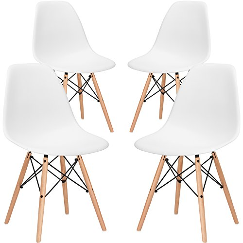 poly and bark vortex side chair, white, set of 4