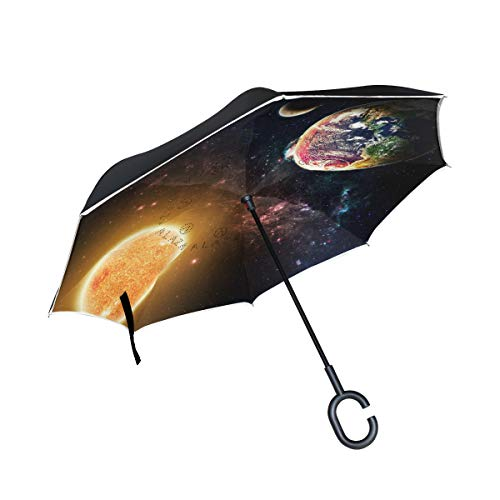 THENAHOME Reverse Inverted Auto Open Umbrella Compact Lightweight Straight Umbrellas with Sun Earth Moon for Car & Outdoor