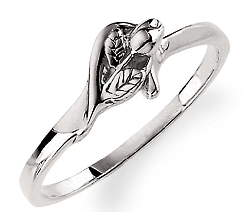 'Unblossomed Rose' Rhodium Plate 14k White Gold Chastity Ring, Size 7