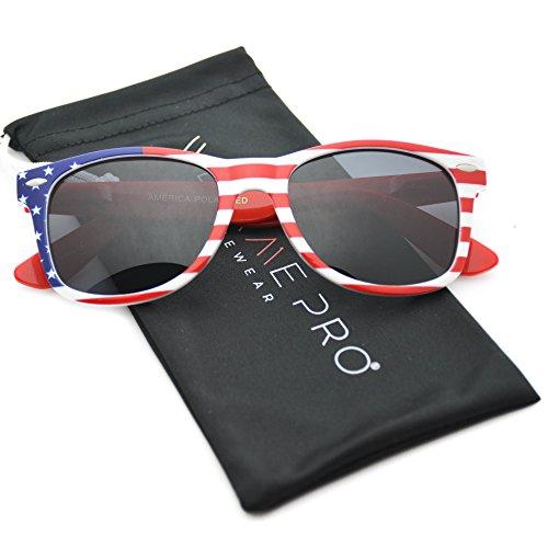 WearMe Pro - Polarized American Flag Retro Wayfarer - Eyewear Made American