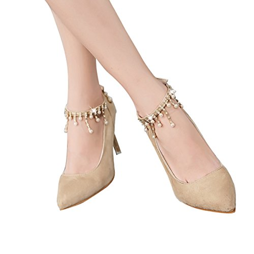 Dear Time Pearls High Heel Women Pointed Toe Ankle Strap Stiletto Wedding Bridal Shoes Beige Jkgpfq