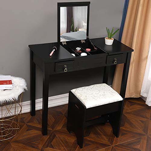 Vanity Set, Flip Top Mirror Makeup Dressing Table, 2 Drawers, Cushioned Stool, 3 Removable Organizers, Easy Assembly // Littay (Black)