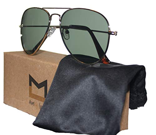 Polarized Aviator Sunglasses for Men and Women with UV400 protection by MasonLily Eyewear (Yellow Gold, Green G15)