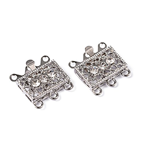 Pandahall 2Sets Metal Tone Brass Rhinestone Clasps Multi-strand Box Clasps 3-Strand Rectangle Filigree Clasps Jewelry Findings 18x17x1.5mm Platinum