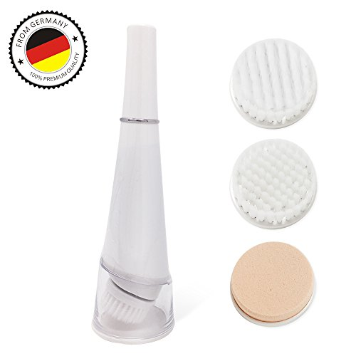 owered Facial Brush Blackhead Remover and Exfoliating with Electric Roating and Vibrating Waterproof for Deep Cleaning with 3 Face Brush Replacement Heads (1aaa Cell)