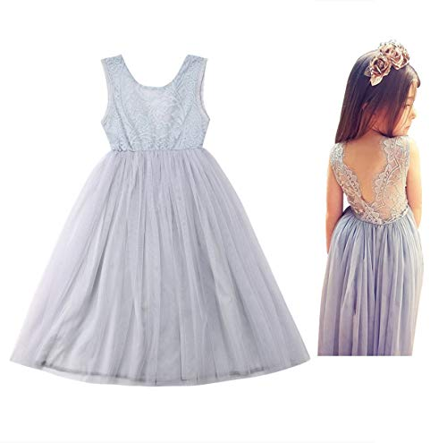 (Baby Girls Kids Tulle Tutu Dress Lace Wedding Party Prom Sleeveless Princess Sundress (110/4-5 Years, Grey))