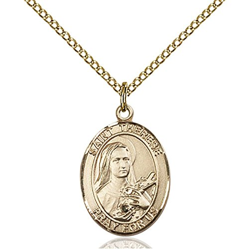 Bonyak Jewelry Gold Filled St. Therese of Lisieux Pendant 3/4 x 1/2 inches with Gold Filled Lite Curb Chain