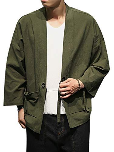 お尻濃度添加剤VINMORI (ヴィンモリ) カーディガン 和式パーカー メンズ ボタンなし tシャツ 夏 薄手 和式 七分袖 鶴柄 羽織 トップス おしゃれ カジュアル 通気